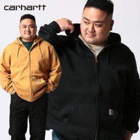 パーカー 大きいサイズ メンズ 裏起毛 ワンポイント フルジップ 長袖 Zip Front Sweatshirt ジップパーカー 起毛 ブラック/マスタード 1XL 2XL 3XL 4XL ビッグサイズ サカゼン Carhartt カーハート