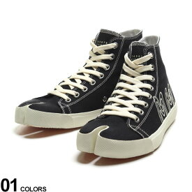 Maison Margiela (メゾン マルジェラ) キャンバス 刺繍 足袋 ハイカットスニーカーブランド メンズ 男性 シューズ 靴 スニーカー ハイカット ロゴ 刺繍 レースアップ コットン ME57WS399P4080
