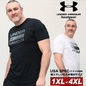 アンダーアーマー USA規格 半袖 Tシャツ 大きいサイズ メンズ heatgear LOOSE クルーネック TEAM ISSUE WORDMARK SS スポーツ トレーニング ホワイト/ブラック 1XL 2XL 3XL 4XL UNDER ARMOUR