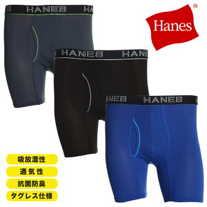 ボクサーパンツ 大きいサイズ メンズ 抗菌防臭 蒸れない メッシュ 前開き アンダーウェア 通気性 グレー/ブラック/ブルー 3L-4L Hanes ヘインズ