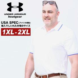 アンダーアーマー USA規格 半袖 ポロシャツ 大きいサイズ メンズ heatgear LOOSE ライン PLAYOFF 2.0 PIQUE POLO RED ゴルフ スポーツ ホワイト 1XL-2XL UNDER ARMOUR