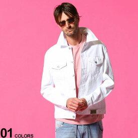 DIESEL (ディーゼル) 無地 ポケット ホワイト デニム ジャケットブランド メンズ 男性 アウター ジャケット ブルゾン Gジャン 春物 ホワイトデニム デニムジャケット DSA02126ABBK