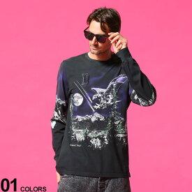 ディーゼル メンズ DIESEL Tシャツ 長袖 ロンT ユーズド加工 ホーク ウルフ プリント ブランド トップス DSA01861QBAN