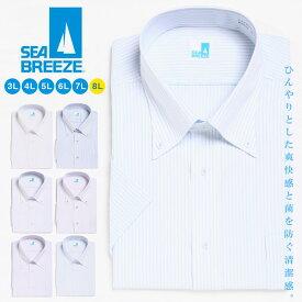 半袖 ワイシャツ 大きいサイズ メンズ 接触冷感 抗菌防臭 形態安定 ボタンダウン RELAX BODY クールビズ ホワイト/ブルー/スカイブルー/パープル/ライラック/ライトブルー XLサイズ 3L 4L 5L 6L SEA BREEZE シーブリーズ