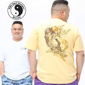 半袖 Tシャツ 大きいサイズ メンズ 綿100% バックサーフプリント クルーネック コットン スポーツ ホワイト/イエロー XLサイズ 3L 4L 5L T&C Surf Designs ティーアンドシーサーフデザイン