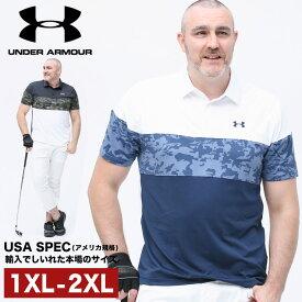 アンダーアーマー USA規格 半袖 ポロシャツ 大きいサイズ メンズ LOOSE UPF50 切り替え スポーツ ゴルフ トレーニング ホワイト/ブラック 1XL-2XL UNDER ARMOUR