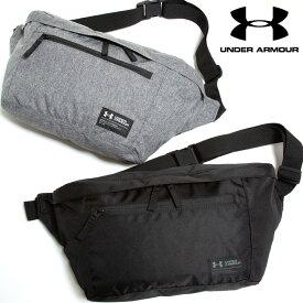 ウエストバッグ 大きいサイズ メンズ ジップポケット LARGE WAIST BAG ボディバッグ ウエストポーチ スポーツ トレーニング グレー/ブラック UNDER ARMOUR アンダーアーマー
