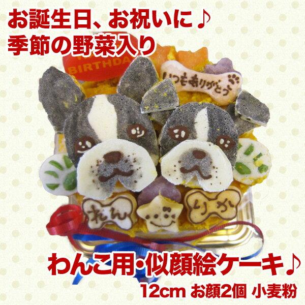 似顔絵ケーキ♪12cm 顔2個(ワンコケーキ 犬用ケーキ、犬の誕生日、犬のお祝い、似顔絵、プレゼント)