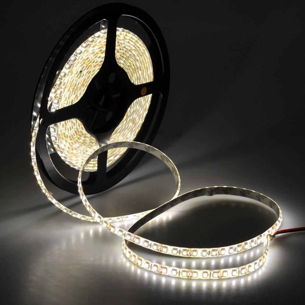 短色 LEDテープライト 12V高輝度 5M 600連 防水 切断可能 白ベース/LEDグリーン 強力粘着両面テープ 正面発光 SMD 2835 3528 電球色