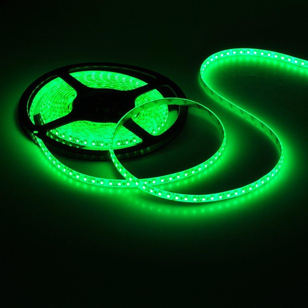 ●短色 LEDテープライト● 24V 高輝度 5M 300連 防水IP65 切断可能 白ベース/LED 強力粘着両面テープ 正面発光 SMD 5050 (グリーン) GREEN