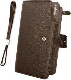 長財布 メンズ 多機能 大容量 カード入れ23 小銭入れ ファスナー スナップボタン ブラウン ブラック (茶)
