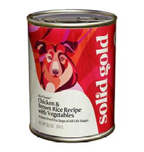 全年齢対応 犬用 ウェットフード ソリッドゴールド チキン&レバー缶 374g 正規品 【犬/ドックフード/ウェットフード/全年齢/オーガニック/全犬種】