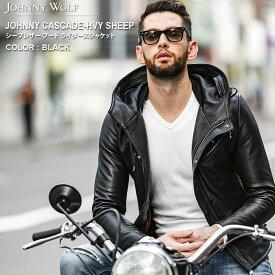 JOHNNY CASCADE-HVY SHEEP(ジョニーカスケード ヘヴィーシープ)シープレザー フード ライダース ジャケット JHOHNNY WOLF ジョニーウルフ BUFFALO BOBS バッファローボブズ