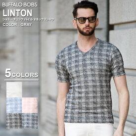 BUFFALO BOBS バッファローボブズ LINTON(リントン)シャドーチェック パイル Vネック Tシャツ