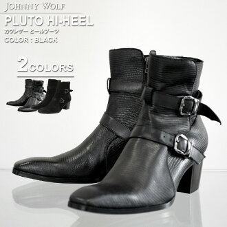 PLUTO HI-HEEL (Pluto high-heeled shoes) cow leather heel boots JOHNNY WOLF Johnny wolf