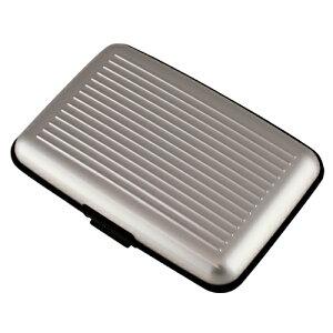 【送料無料】アルミ カードケース シルバー アタッシュ スーツケース風 名刺入れ ワンタッチ開閉