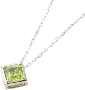 18金 ホワイトゴールド ダイヤモンド(0.05ct) ペリドット(0.5ctアップ) スクエア リバーシブルペンダント