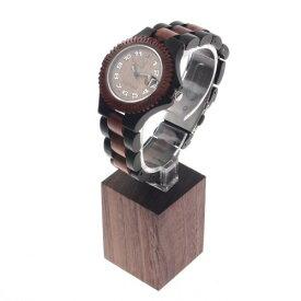 【送料無料】森の紙 腕時計用 木 ウッド ウォッチスタンド ウォルナット ブラウン 角 ディスプレイスタンド 時計収納 布クロス付 デスクトップ 時計 収納 プチギフト プレゼント 木製品 デスク整理 morinokami