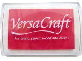 スタンプ台 バーサクラフト Lサイズ ローズピンク 赤 紅色 布用スタンプパッド インクパッド 水性顔料インク ツキネコ VK-133