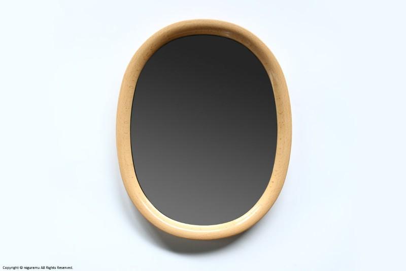 曲木鏡(ウォールミラー) 小判型, 小 / 木地色【柳宗理】