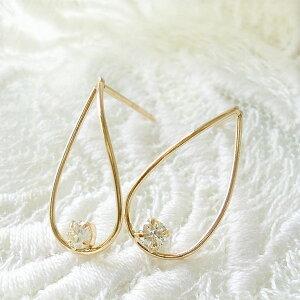 k18 ピアス ダイヤモンド 一粒 ダイヤ 0.10ct ゴールド K18 イエローゴールド 華奢 オフィス 普段使い レディース ジュエリー アクセ