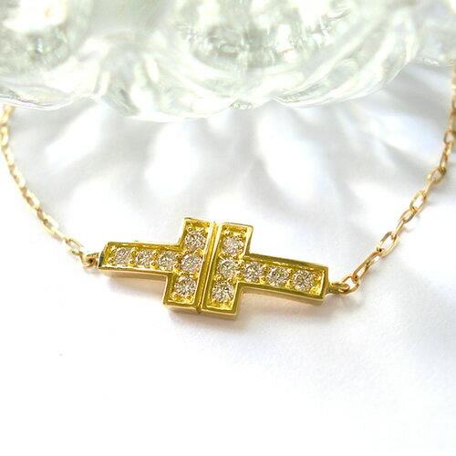K10 k10 ブレスレット ダイヤモンド 0.15ct Tモチーフ T字 tモチーフ 10金 ゴールド PG WG 誕生石 送料無料
