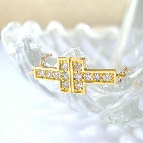 K18 k18 ブレスレット ダイヤモンド 0.15ct Tモチーフ T字 tモチーフ 18金 ゴールド PG WG 誕生石 送料無料