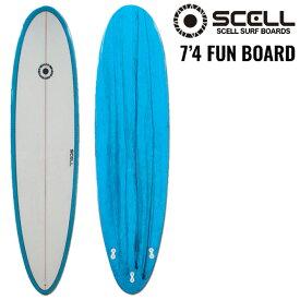 ファンボード7'4 青●サーフボード【SCELL】 サーフィン