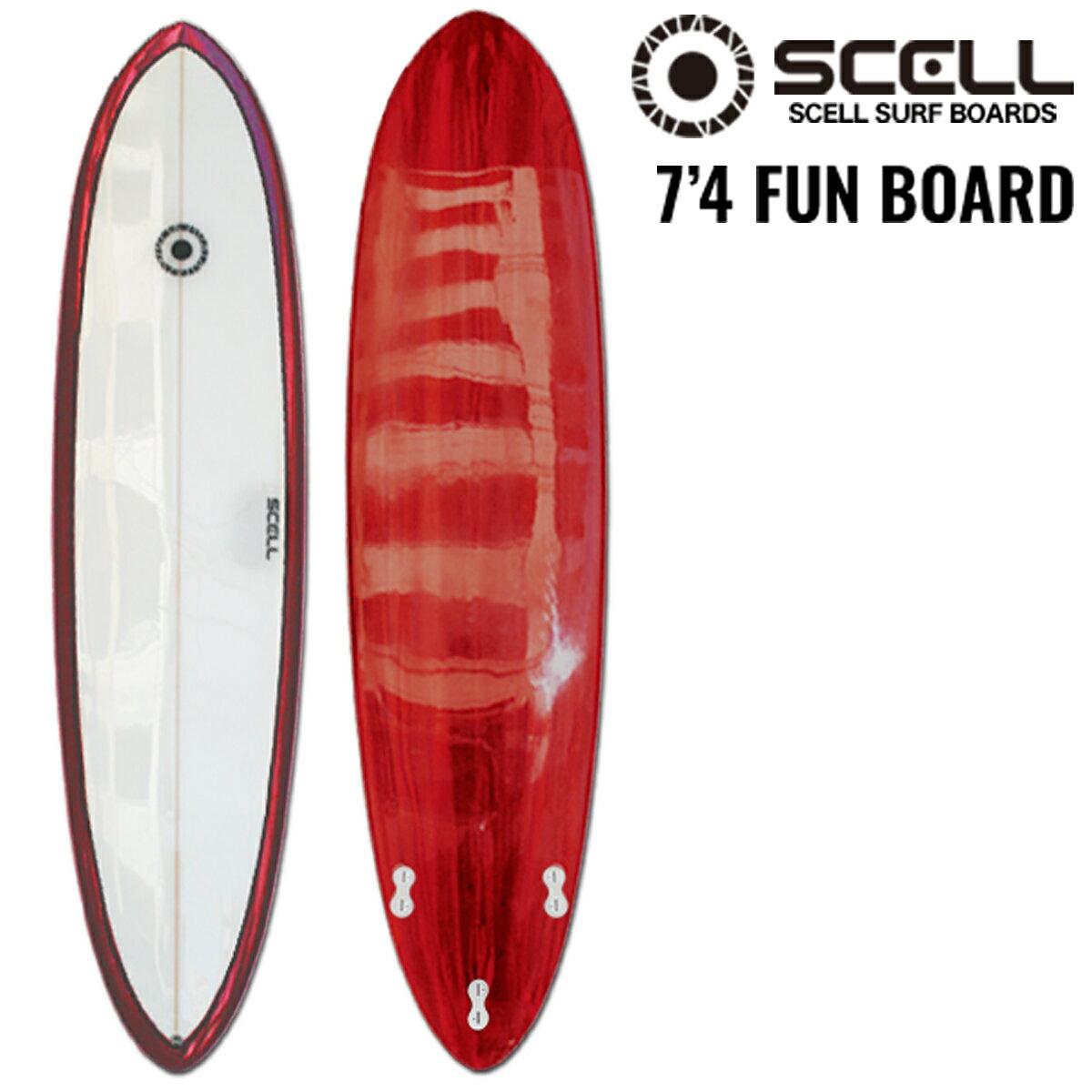 [エントリー&楽天カード利用でポイント5倍!2/20 23:59まで]ファンボード 7'4 赤●サーフボード 【SCELL】 サーフィン
