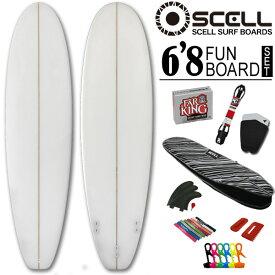 初心者7点SET ファンボード 6'8 クリアセット サーフボード ホワイト 白 SCELL サーフィン ビギナー ステップアップモデル