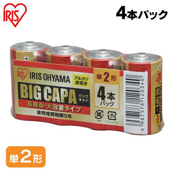 アルカリ乾電池 BIG CAPA 長寿命・大容量タイプ 単2形4本パック アイリスオーヤマ【メール便】【送料無料】