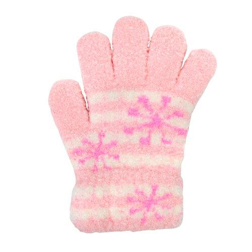 子ども用手袋 Cuty Kids <5本指タイプ> ピンク 雪の結晶柄 45402