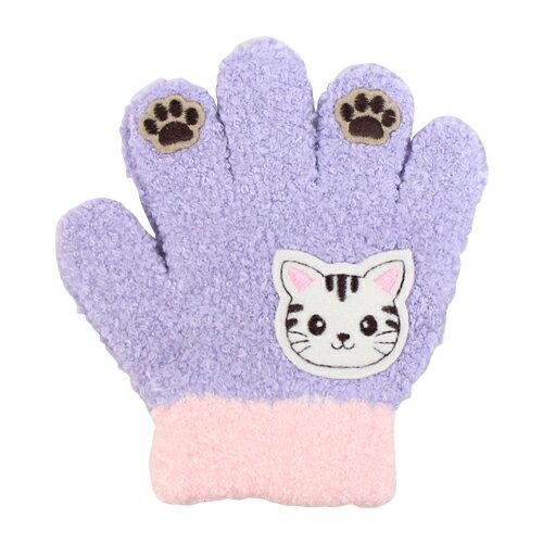 子ども用手袋 Cuty Kids <5本指タイプ> パープル ネコ柄 45155