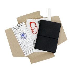トラベラーズノート パスポートサイズ スターターキット 黒 15026-006 [M便 1/1]
