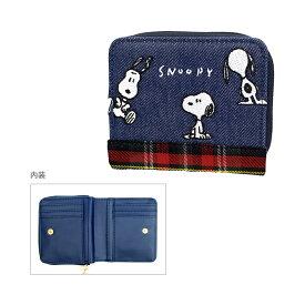 スヌーピー 二つ折り財布 スヌーピーデニムチェック柄 52110