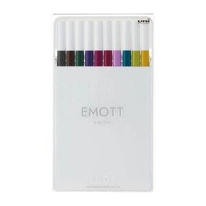 【10色セット】三菱鉛筆/エモット EMOTT 水性サインペン 10色アソート No3 (PEMSY10C.NO3) 白で統一したシンプルなデザイン。 MITSUBISHI PENCIL