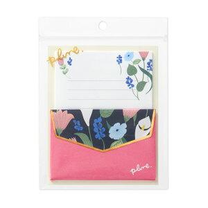 マルアイ/プルーンミニレター Modern Lilliys ピンク(レ-PL12)花をモチーフにしたテキスタイルブランド『Plune.』 鮮やかなアクセントカラーや箔をあしらった、気分がはなやぐデザイン MA