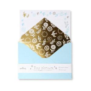 ホールマーク/セット タイニー プレジャーブルー レターセット 手紙 鳥 花柄 北欧(EES-769-130)金色のプリントが上品で可愛い Hallmark