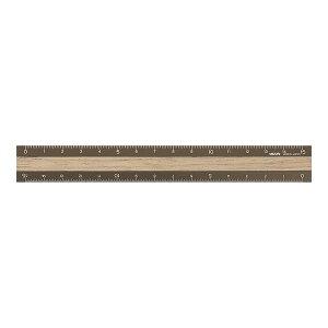 ミドリ/アルミ&ウッド定規<15cm> 茶×茶(42280006)深い色合いと木目が美しい高級感のあるウォールナット midori/デザインフィル