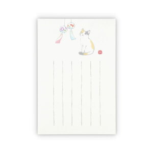 ホールマーク/サマーポストカード 和紙 墨絵 猫と風鈴 (SCP-777-838) 暑中見舞い hallmark