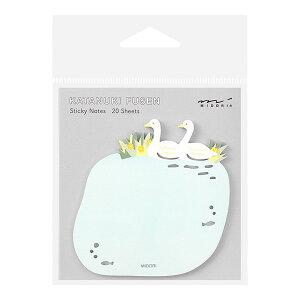 ミドリ/付せん紙 型抜き 白鳥柄(19075006)型抜き付せん紙シリーズ 贈り物や伝言、メッセージに 手帳やノートに貼ってしおりになるかわいい付箋 midori/デザインフィル