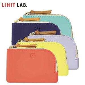 【全5色・A8サイズ】LIHIT LAB.(リヒトラブ)/Bloomin フラットポーチ カードサイズ (F-7737) シリコン製 大きく開くL字ファスナー カードケースやお財布にも