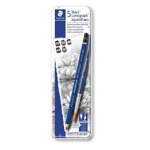 ステッドラー/マルス ルモグラフアクェレル水彩鉛筆 6本セット(100A G6)水彩色鉛筆の様に水に溶けるグラファイト鉛筆 100AG6 STAEDTLER 100A-G6