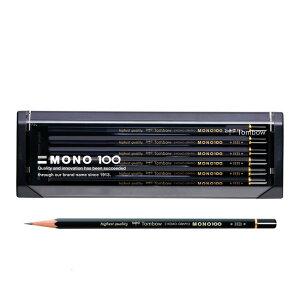 【硬度:9H〜6B】トンボ鉛筆/モノ100(MONO-100)六角 1ダース 濃くなめらかで、折れにくい。MONOシリーズの最高級鉛筆