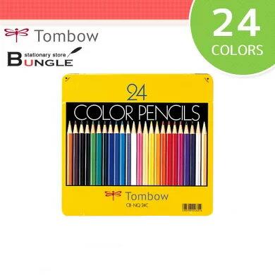 【24色セット】トンボ鉛筆/缶入色鉛筆 丸軸 CB-NQ24C なめらかに書けて折れにくい!色鉛筆の定番