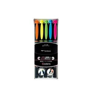 【5色セット】トンボ鉛筆/水性蛍光マーカー<蛍coat(蛍コート)>WA-TC5C ペン先がつぶれにくい!定規を汚さない!ツインタイプの補充式マーカー♪