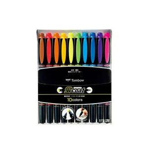 【10色セット】トンボ鉛筆/水性蛍光マーカー<蛍coat(蛍コート)>WA-TC10C ペン先がつぶれにくい!定規を汚さない!ツインタイプの補充式マーカー♪