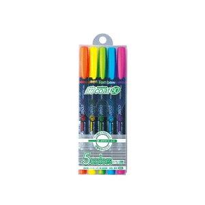 【5色セット】トンボ鉛筆/水性蛍光マーカー<蛍coat80(蛍コート80)>WA-SC5C ペン先がつぶれにくく、定規を汚さない!詰め替え式の蛍光マーカー