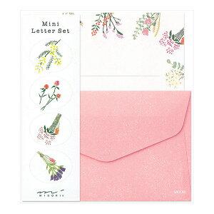 ミドリ/ミニレターセット ドライフラワー柄(91802609)気軽に使えるシール付き 温かみのあるお花がかわいいミニレターセット midori/デザインフィル