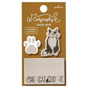 ホールマーク キャットグラフィー 付箋 ベージュ 猫のしわざ 3柄合計45枚入り /付箋紙/かわいい/おしゃれ/大人っぽい/ねこ/肉球(EFM-739-928)